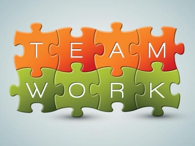 3d puzzle teamwork vector