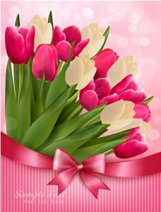 Red and white tulips on vector cards