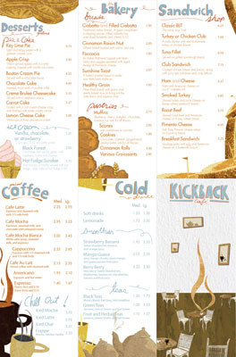 restaurant menu cards