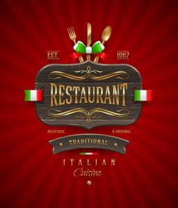 Restaurant wooden sign vector