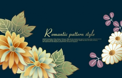 Romantic flowers banner