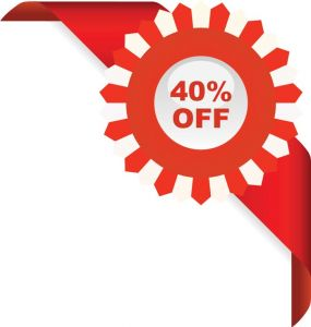 40% off sales red ribbon