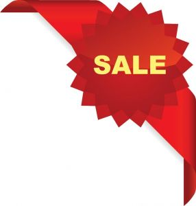 Sale red cornered ribbon