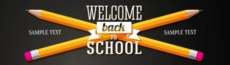 Set of school banners with place for your text and welcome back to school greeting. Vector