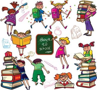School kids and vector elements