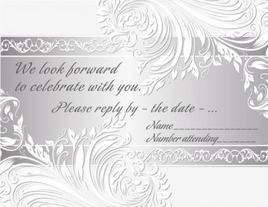 Silver wedding invitation with floral curly shapes