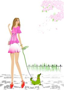 Sketch of fashion girls vector template
