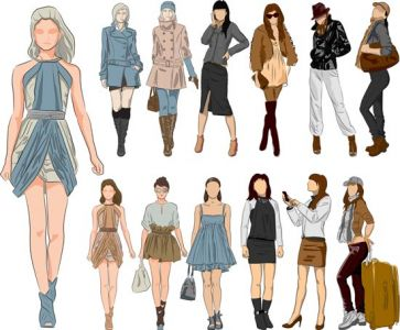 Sketch of fashion girls vector design