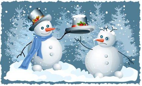 Snowman vector card