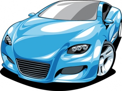 Blue sport car vector