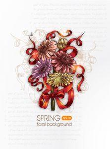 Spring floral background vector illustration