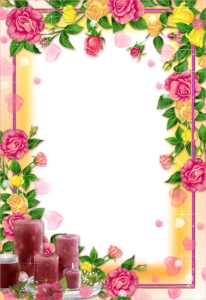 Spring flower frame for Photoshop