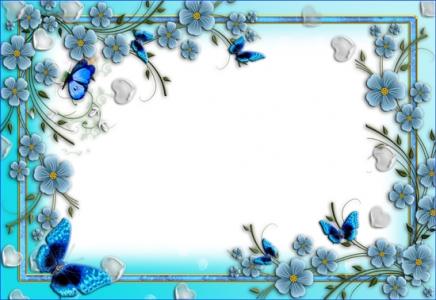 Spring flower frame for Photoshop