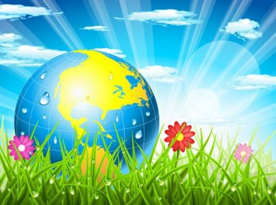 Spring landscapes with globe vectors