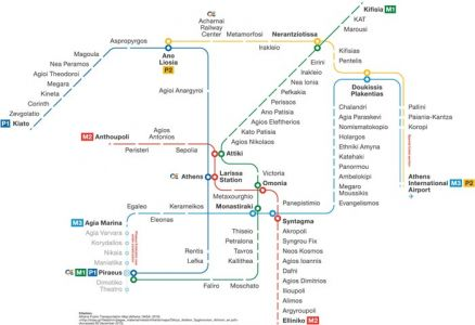 Athens city subway map