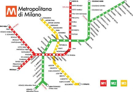Milano city subway map
