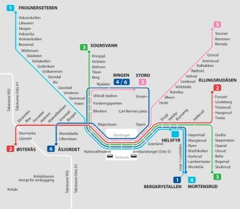 Oslo city subway map