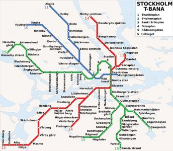 Stockholm city subway map