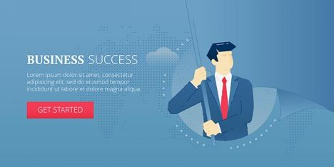 Business success. Web banner