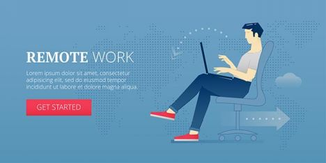 Remote work. Web banner