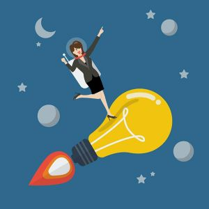 Business woman astronaut on a moving lightbulb idea rocket