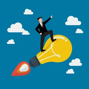 Businessman on a moving lightbulb idea rocket