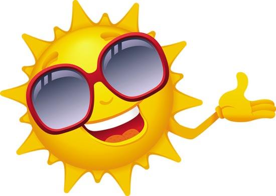 Sun smiley face expressions vector