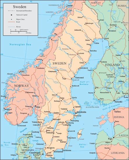 Sweden Vector Maps - Norway map rivers
