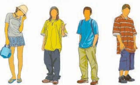 Teenagers silhouette template