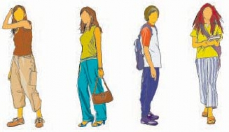 Teenagers silhouette clipart