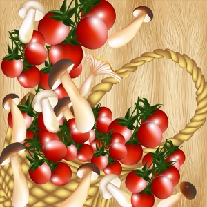 Basket of cherry tomato and mushrooms on a hardwood texture