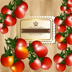 Banner design with cherry tomato and wooden texture