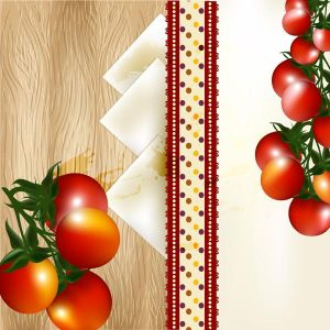 Banner design with cherry tomato on a  wooden texture