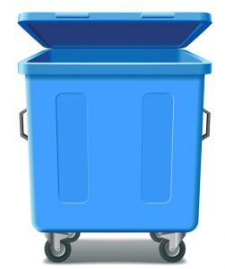 blue trash can vector