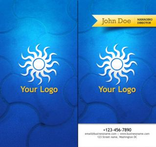 Travel business cards with blue background