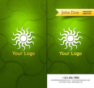 Travel business cards with green background