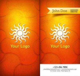 Travel business cards with orange background