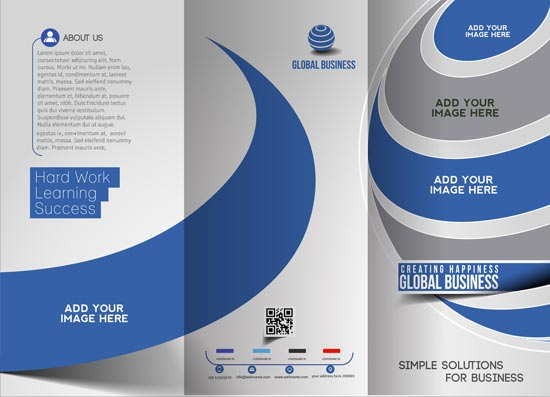 tri folded business brochure vectors