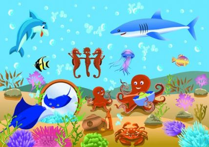 Underwater world of marine life vector