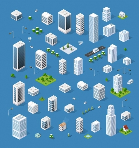 Isometric set 3D city