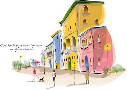 Urban landscape paintings vectors