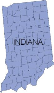 indiana region with counties vector