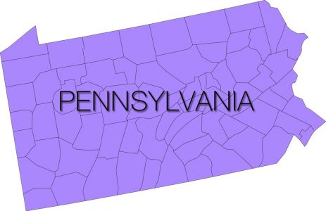 pennsylvania region with counties vector