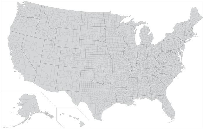 USA States And Counties Vector Map - Map of the usa states