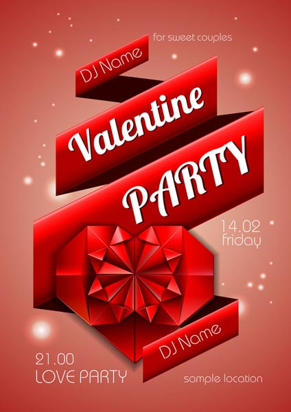 valentine party disco poster vectors - Valentine Poster