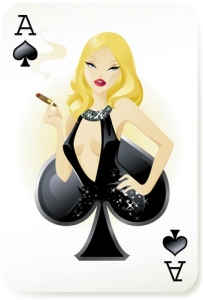 Playing card girl vector
