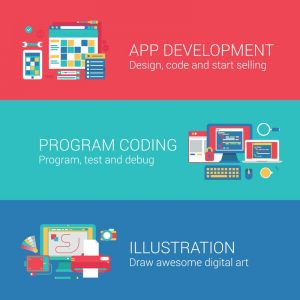 App development and program coding vector banners