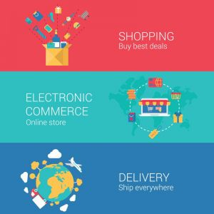 Electronic commerce and delivery vector banners