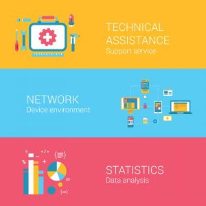 Technical assistance and data analysis vector banners