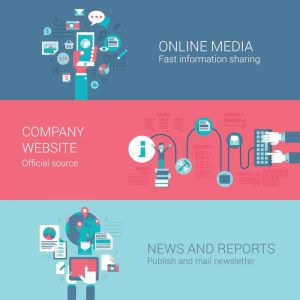 Online media with news and reports vector banners